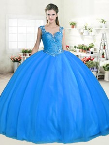 New Style Straps Beaded Big Puffy Sweet 16 Dress in Tulle