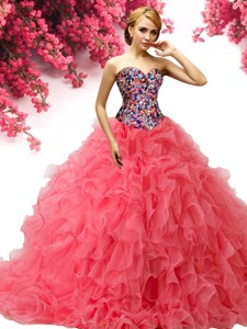 Perfect Big Puffy Coral Red Quinceanera Dress with Beading and Ruffles
