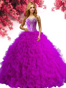 New Style Beaded and Ruffled Big Puffy Quinceanera Dress in Tulle
