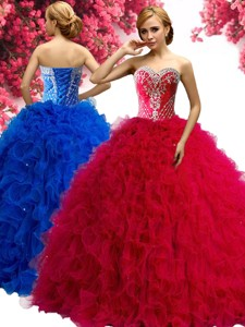 Perfect Red Tulle Sweet 16 Dress with Beading and Ruffles