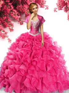 482a1b76f70 Gorgeous Organza Hot Pink Quinceanera Dress with Appliques and Ruffles