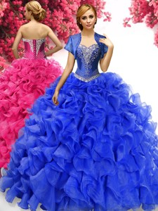 Perfect Ruffled and Applique Sweet 16 Dress in Royal Blue