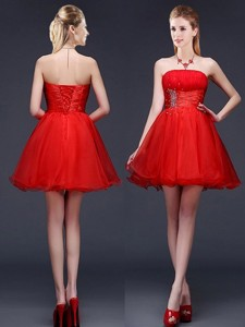 Wonderful Strapless Red Short Bridesmaid Dress with Beading and Ruching