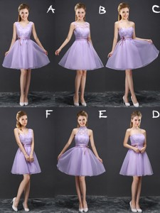 Pretty A Line Belted Lavender Bridesmaid Dress in Organza