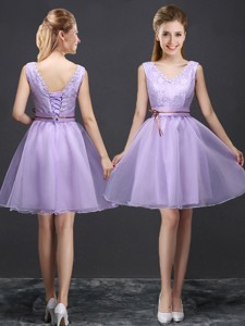 Classical V Neck Lavender Short Bridesmaid Dress with Belt and Lace