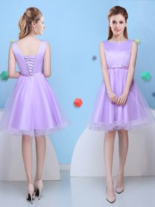 Fashionable Scoop Lavender Short Bridesmaid Dress with Bowknot