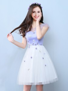 Classical V Neck White and Lavender Bridesmaid Dress with Cap Sleeves