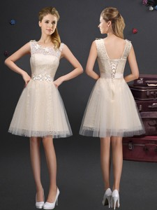 Fashionable Scoop Champagne Bridesmaid Dress with Lace and Belt