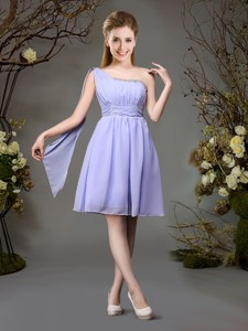 Beautiful Chiffon One Shoulder Beaded Dama Dress in Lavender