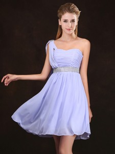 Modern Ruched Bodice and Sequined Short Dama Dress in Lavender