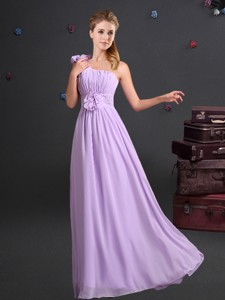 Sweet One Shoulder Lavender Dama Dress with Ruching and Handmade Flowers