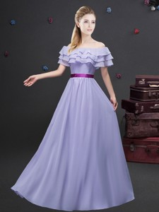 Pretty Ruffled Layers and Belted Lavender Dama Dress with Short Sleeves