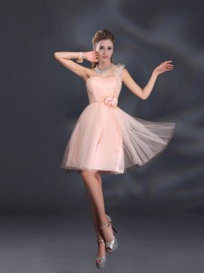 One Shoulder A Line Tulle Bridesmaid Dress With Hand Made Flowers