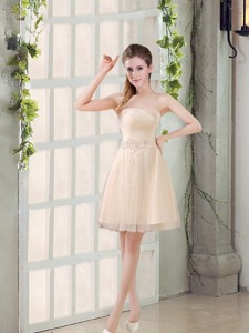 Sweetheart A Line Appliques Champagne Bridesmaid Dress