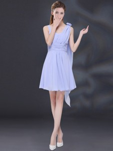 Chiffon Ruching Lavender Bridesmaid Dress With One Shoulder