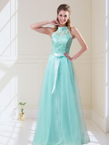 Elegant Empire Halter Top Laced Mint Bridesmaid Dress With Sash
