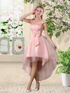 Romantic One Shoulder Laced And Bowknot Bridesmaid Dress In Pink