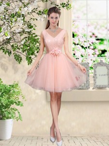 Decent V Neck Baby Pink Bridesmaid Dress With Hand Made Flowers