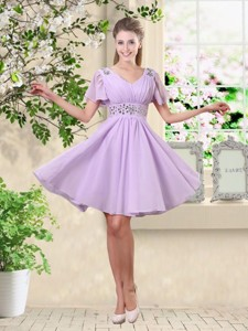 Simple A Line V Neck Beaded Bridesmaid Dress In Lavender