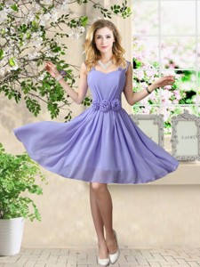 Simple Straps Hand Made Flowers Bridesmaid Dress