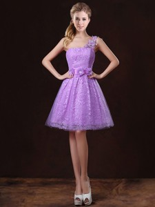 Elegant One Shoulder Bridesmaid Dress With Lace And Appliques
