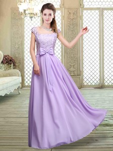 Fashionable Square Cap Sleeves Lavender Bridesmaid Dress With Belt