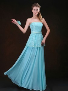 Affordable Strapless Floor Length Bridesmaid Dress In Aqua Blue