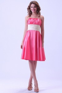 Hot Pink Dama Dress For Quinceanera Dress With Ruching Knee-length Taffeta For Custom Made