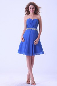 Royal Blue Dama Dress For Quinceanera Dress With Sweetheart Appliques Knee-length Chiffon