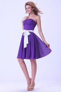 Purple Dama Dress For Quinceanera Dress With White Sash Chiffon Knee-length