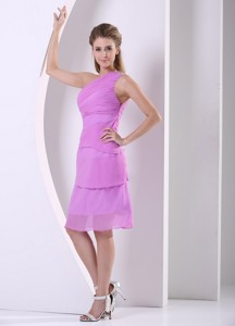 Beaded One Shoulder Chiffon Lavender Knee-length Simple Dama Dress