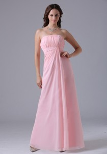 Massachusetts City Baby Pink Ruched Decorate Simple Dama Dress With Floor-length In