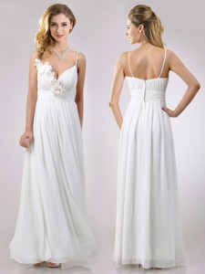 Popular Spaghetti Straps Applique And Ruched Dama Dress In White