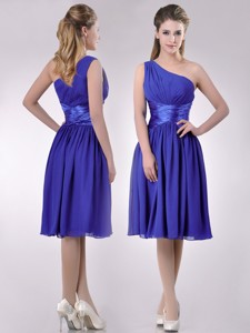 Elegant One Shoulder Chiffon Blue Dama Dress With Side Zipper