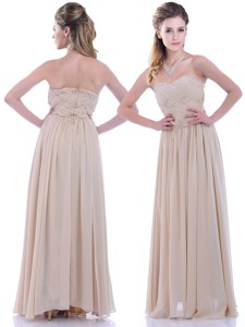 Fashionable Empire Champagne Chiffon Dama Dress With Beading And Ruching