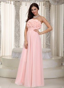 Baby Pink Empire Strapless Floor-length Chiffon Hand Made Flowers Dama Dress