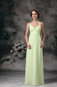 Yellow Green Column Straps Floor-length Chiffon Dama Dress For Quinceanera