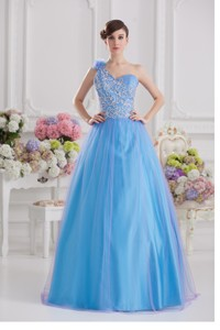 One Shoulder Tulle Blue Quinceanera Dress With Appliques Hand Made Flower