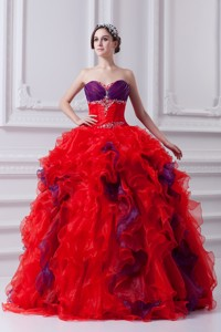 Fashionable Sweetheart Beading and Appliques Multi-color Quinceanera Dress with Ruffles