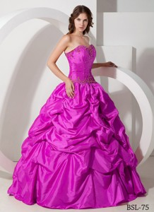 Fuchsia Sweetheart Long Beading and Pick-ups Quinceanera Dress