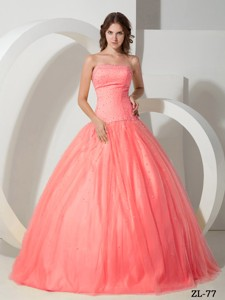 Beading Ball Gown Strapless Floor-length Tulle Quinceanera Dress