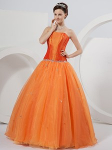Orange Strapless Floor-length Organza Beading Quinceanera Dress