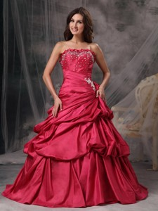 Red Princess Strapless Floor-length Taffeta Beading Quinceanera Dress