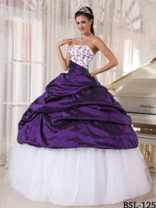 Beautiful Ball Gown Strapless White and Purple Embroidery Quinceanera Dress
