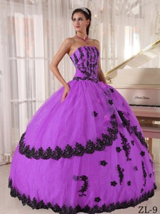 Ball Gown Strapless Floor-length Appliques Quinceanera Dress