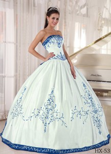 White and Blue Strapless Floor-length Embroidery Quinceanera Dress