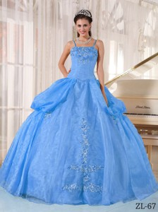 Blue Ball Gown Spaghetti Straps Floor-length Taffeta and Organza Appliques Quinceanera Dress