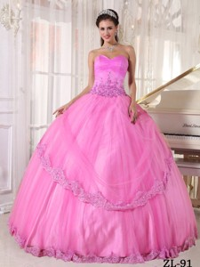 Hot Pink Ball Gown Sweetheart Floor-length Taffeta and Tulle Appliques Quinceanera Dress