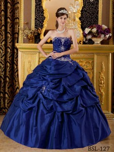 Dark Blue Ball Gown Strapless Floor-length Taffeta Appliques Quinceanera Dress