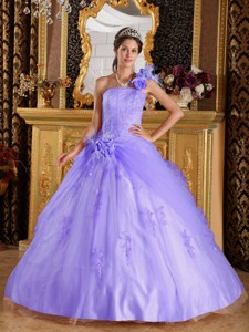 Lilac Ball Gown One Shoulder Floor-length Appliques Tulle Quinceanera Dress